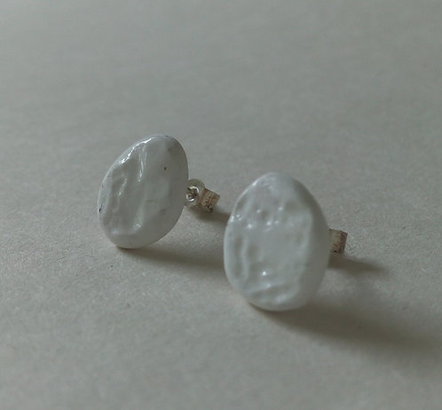 China Oval Textured Earrings. Ceramic Earrings. Contemporary Studs.