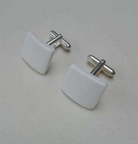 China Rectangular Cufflinks. Ceramic Square Cufflinks. White China Cufflinks.