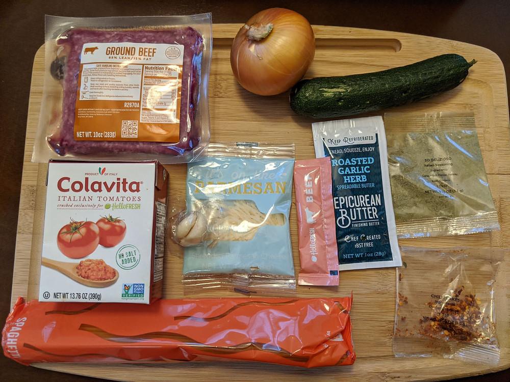 Beef ragu spghetti ingredients