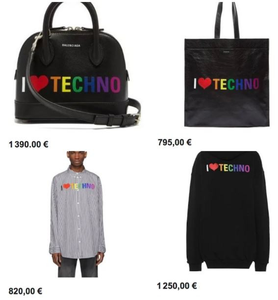 "Balenciaga COLLECTION ""I LOVE TECHNO"""
