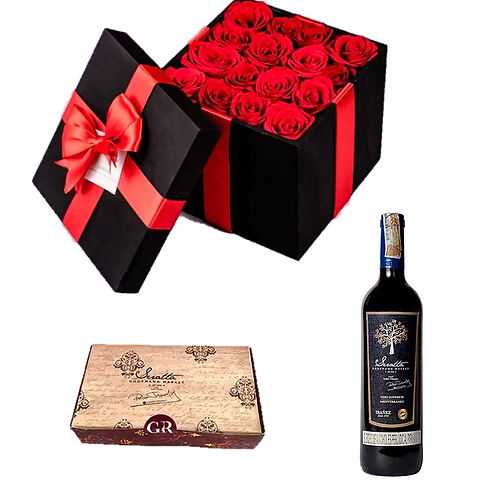 Vino + Rosas + Caja Especial Panadería