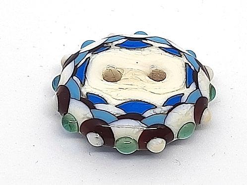 Bouton bleu en verre de Murano