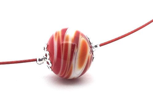 Tour de cou une perle rouge et blanc