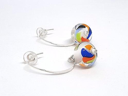 """Boucles d'oreilles multicolores """"Color touch"""" en verre filé"""