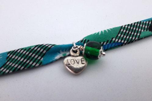 Bracelet tissu perle et coeur