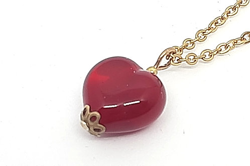 Pendentif coeur rouge en verre de Murano