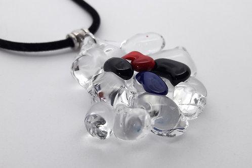 """Gros pendentif """"Glass ice"""" en verre de Murano"""