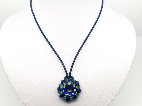 Pendentif Mandala vert et bleu en verre de Murano
