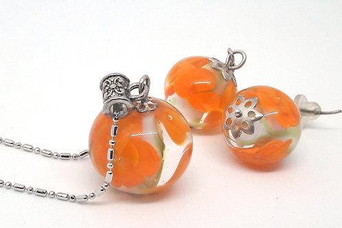 """Parure """"Carthame"""" florale orange en verre de Murano"""