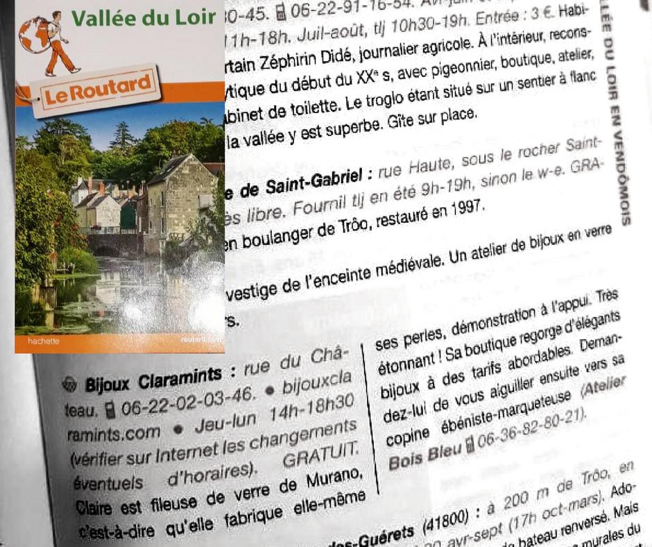 L'atelier de filage de verre Bijoux Claramints recommandé par le guide du Routard de la Vallée du Loir
