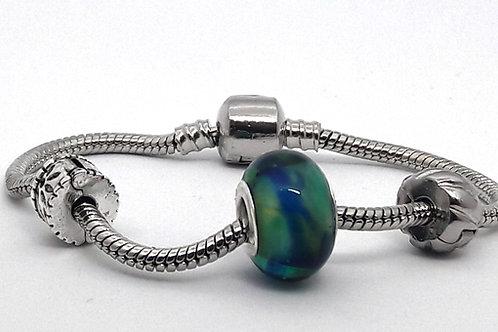 Perle bleu vert à gros trou pour bracelet...