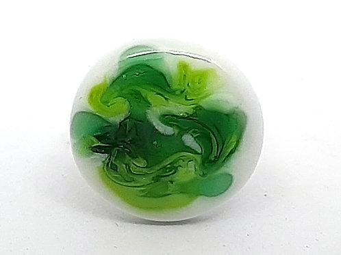"Bague reglable ""Frondaison"" en verre de Murano vert et blanc"