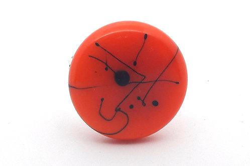 """Bague """"Graffiti"""" ronde réglable orange et noir"""