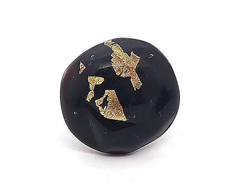 """Bague """"Aurum"""" réglable en verre de Murano noir et feuille d'or"""