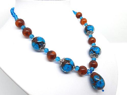 """Parure """"Blue poppy"""" collier et bague en verre de Murano"""