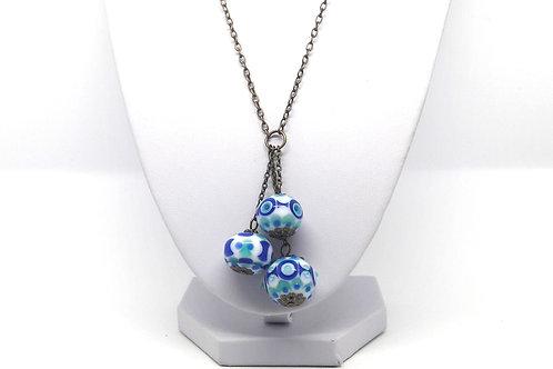 "Sautoir bronze ""Azulejo"" avec trio de perles en verre de Murano"