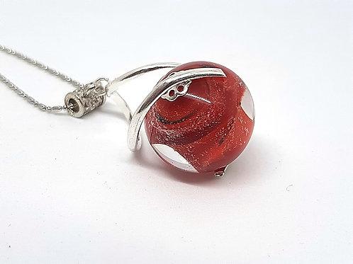 """Pendentif """"L'enlacée"""" perle rouge effet voie lactée"""