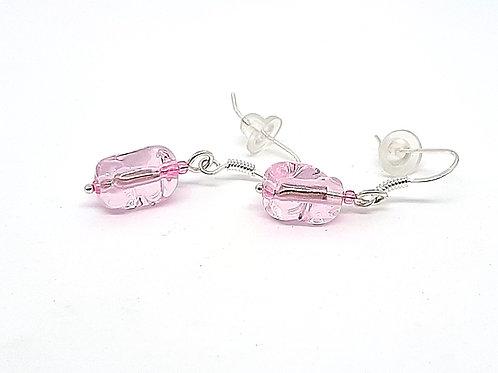 """Boucles d'oreilles """"Diaphanes"""" roses transparentes en verre de Murano"""