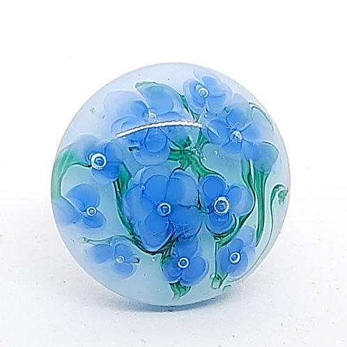 """Grosse bague """"Myosotis"""" florale bleue et verte en verre de Murano"""