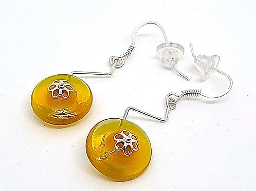 """Boucles d'oreilles """"Zig-zag"""" en verre de Murano jaunes"""