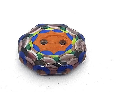 Bouton à motifs géometriques multicolores en verre de Murano