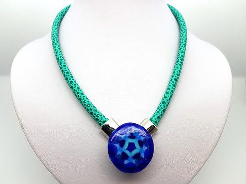 Collier Mandala bleu en verre de Murano