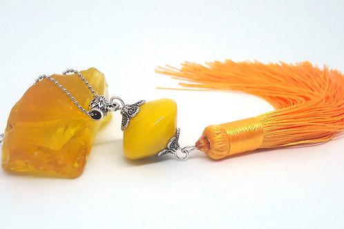 """Sautoir """"Bouton d'or"""" verre de Murano et long pompon textile"""