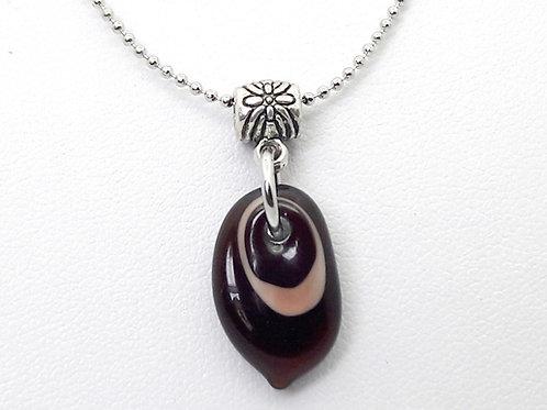"Petit pendentif ""Larmichette"" marron en verre de Murano"