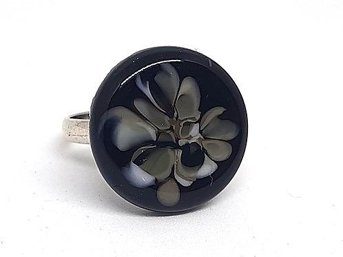 """Bague réglable """"Fumerolle"""" noire et grise en verre de Murano"""