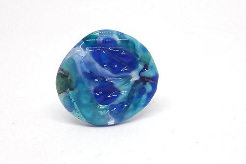 """Bague """"Lagoon"""" réglable en verre de Murano bleu texturé"""