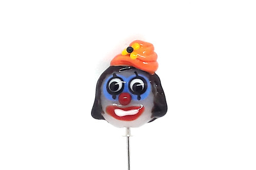Fibule, broche, épingle à chapeau, clown en verre de Murano