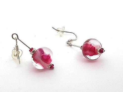 """Boucles d'oreilles """"Delicia"""" coeur rose en transparence"""