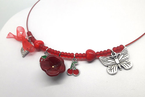 """Collier """"Jardin d'été"""" en verre de Murano rouge"""