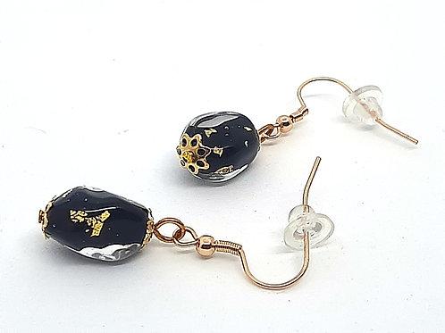 """Boucles d'oreilles """"Aurum"""" en verre de Murano noir et feuille d'or"""