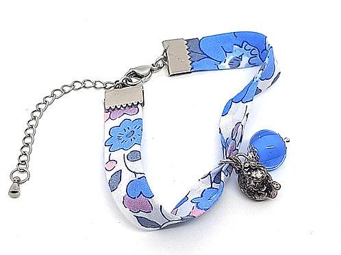 Bracelet tissu Liberty Aquamarine perle bleue et théière