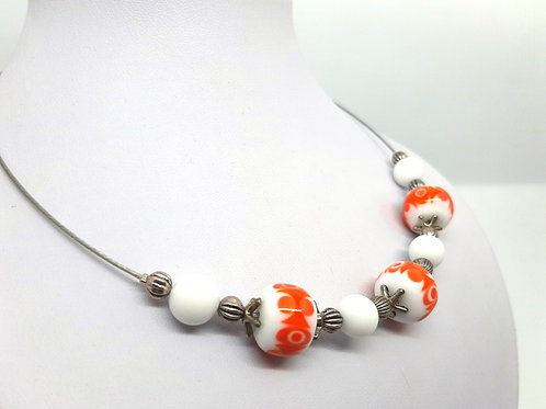 """Collier """"Seventies"""" 3 perles en verre de Murano orange et blanc"""