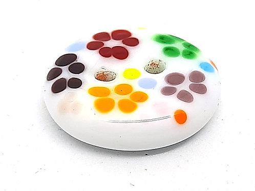 Bouton blanc à fleurettes multicolores en verre de Murano