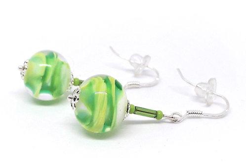 """Boucles d'oreilles pendantes """"Annie"""" en verre de Murano vert"""