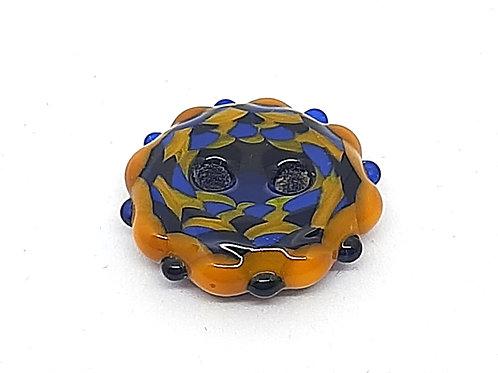 Bouton jaune et bleu en verre de Murano