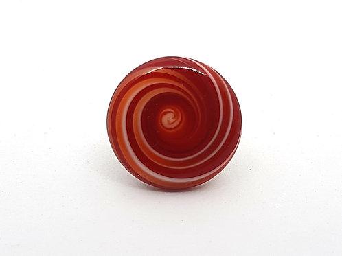 """Bague réglable """"Colimaçon"""" rouge et blanc en verre de Murano"""