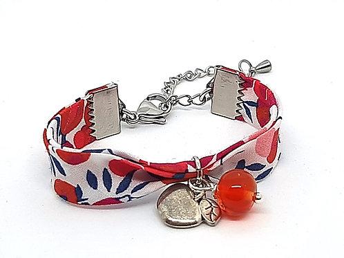 Bracelet pour enfant en tissu Liberty Wiltshire perle orange et pomme