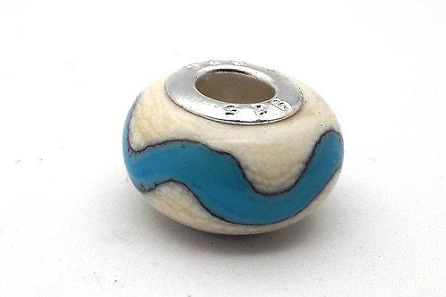 Perle pour bracelet ivoire et turquoise en verre de Murano..