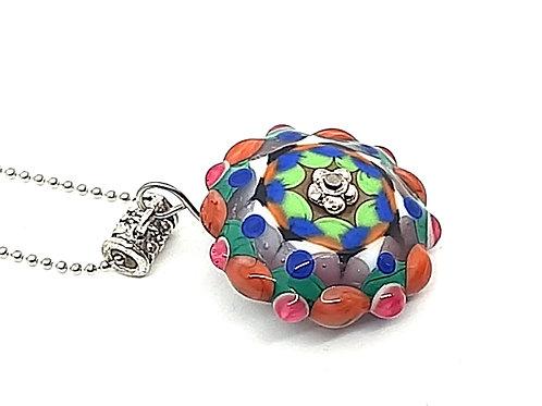 """Pendentif """"Passiflora"""" perle multicolore en verre de Murano"""