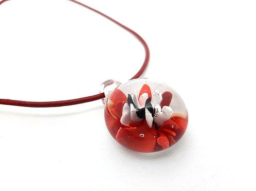 Pendentif Implosion rouge blanc et noir en verre de Murano