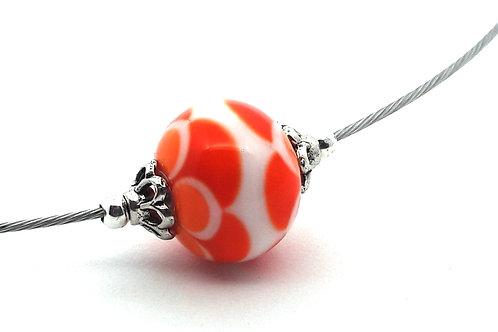 Tour de cou une perle orange et blanc en verre filé