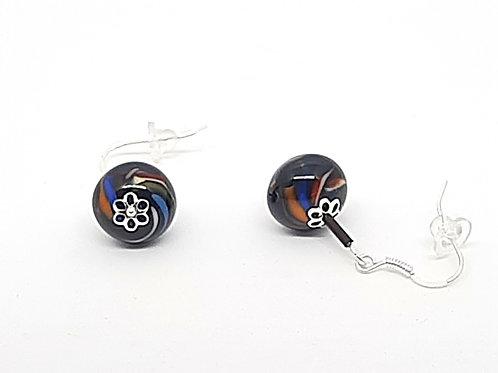 """Boucles d'oreilles """"Envolée"""" noires et multicolores en verre de Murano"""