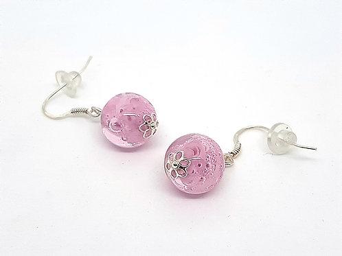 """Boucles d'oreilles """"Bubble"""" rose pâle"""