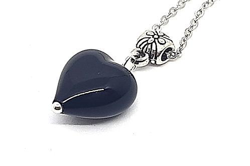 Pendentif coeur noir en verre de Murano