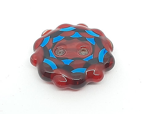 Bouton rouge et bleu en verre de Murano