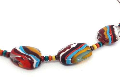 """Collier multicolore """"Bahia d'air"""" en verre de Murano et bois"""